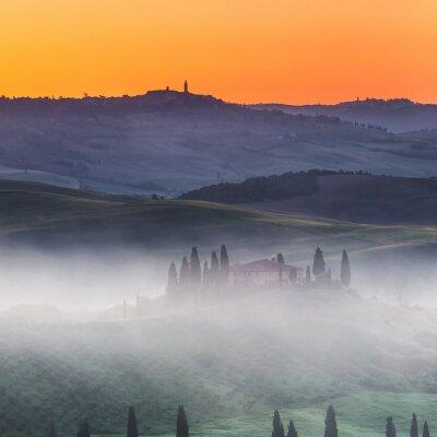 Papiers peints Beau, Tuscany, paysage, lever soleil, Italie