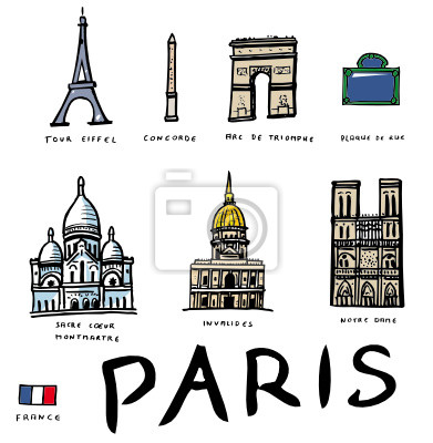 Papiers peints: Beaucoup de dessins vectoriels des monuments de paris