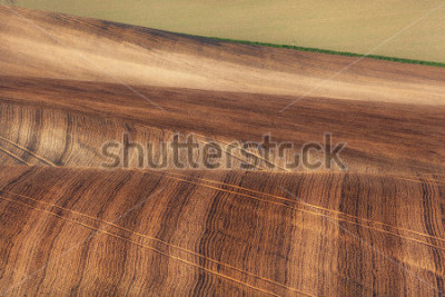 Papiers peints Beautiful concept landscape with striped fields of South Moravia at sunset, abstract background