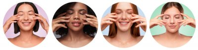 Papiers peints Beautiful multiethnic women with clean skin in circles