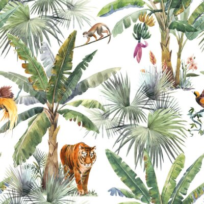 Papiers peints Beautiful seamless pattern with watercolor tropical palms and jungle animals tiger, giraffe, leopard. Stock illustration.