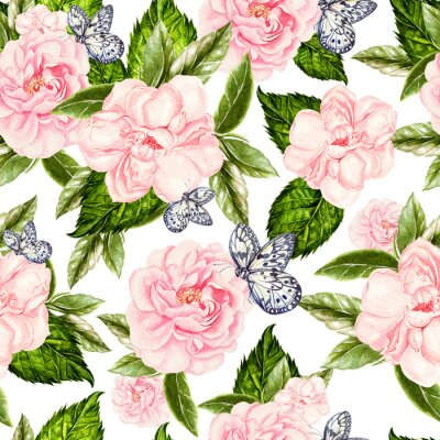 Papiers peints Beautiful watercolor seamless pattern with flowers of rose and peony, butterflies.