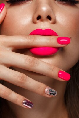 Papiers peints Beautiful young woman with bright makeup and neon pink nails. Beauty face. Photo taken in the studio