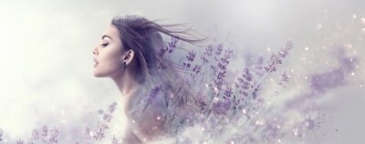 Papiers peints Beauty model girl with lavender flowers . Beautiful young brunette woman with flying long hair profile portrait. Fantasy watercolor