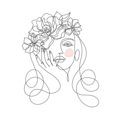 Papiers peints Beauty woman face with flowers one line drawing art. Abstract minimal portrait continuous line. Minimalist Orchids flowers in hair Vector illustration