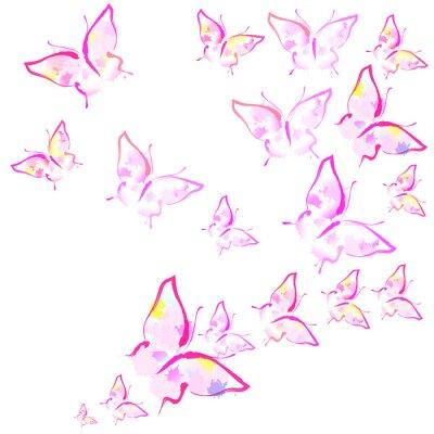 Papiers peints beaux papillons roses, isolés sur un blanc