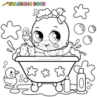 Coloriage Bain Bebe.Bebe Fille Prendre Bain Coloriage Papier Peint Papiers Peints