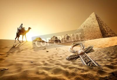 Papiers peints Bédouin, chameau, pyramides, ankh, désert