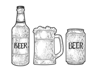 Beer bottle mug can sketch engraving vector illustration. T-shirt apparel print design. Scratch board imitation. Black and white hand drawn image.