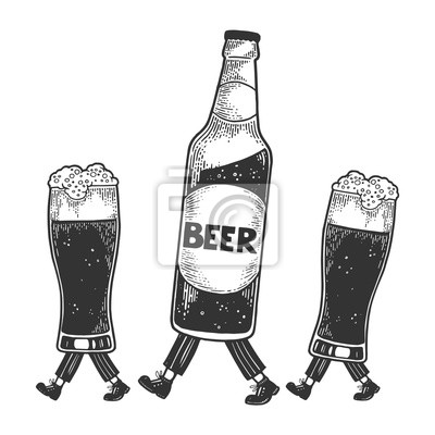 Beer bottle with glass cups walks on its feet sketch engraving vector illustration. Scratch board style imitation. Black and white hand drawn image.