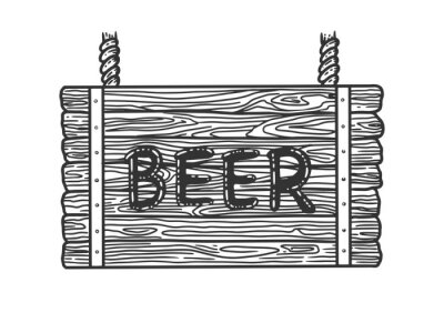 beer wooden signboard sketch engraving vector illustration. T-shirt apparel print design. Scratch board imitation. Black and white hand drawn image.