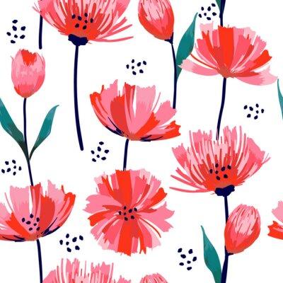 Papiers peints Bel été fraîchement tendance Trendy Wild floraison fleur rose transparente motif dans un style de dessin de la main