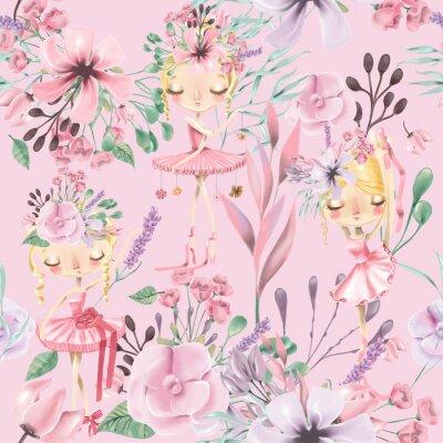 Papiers peints Belle aquarelle transparente motif floral avec des filles de ballet mignon, ballerines.