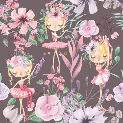 Papiers peints Belle aquarelle transparente motif floral avec des filles de ballet mignon, ballerines. Roses abstraites, pivoine, lilas et branches sur fond sombre