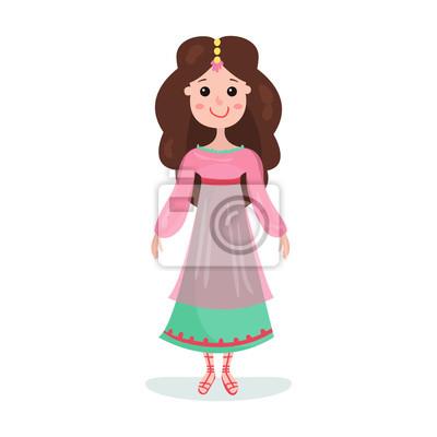 Papiers Peints Belle Brune Dessin Animé Princesse Personnage De Fille Vecteur