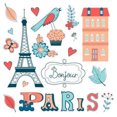 Papiers peints Belle collection d'éléments graphiques liés à Paris