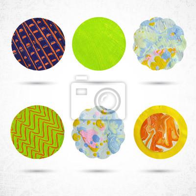 Belle couleur des éléments de conception. Différents cercles décoratifs en papier, de la peinture et des ciseaux. Vector illustration.