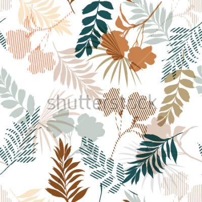 Papiers peints Belle de feuillage tropical de silhouette et de remplir de rayures laisse dans modèle sans couture humeur colorée pour vecteur de tissu et toutes les impressions sur blanc