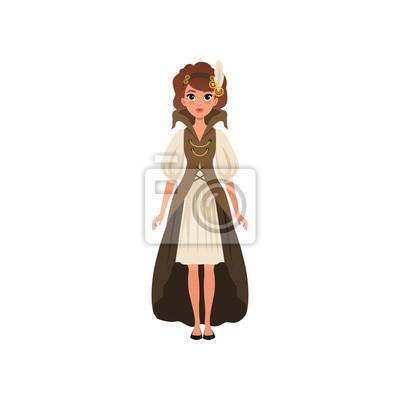 16fc5ce0e00 Papiers peints Belle femme en costume steampunk. Jeune fille en robe  chemise à manches longues