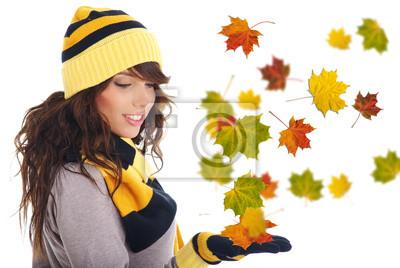 Belle femme portant un chapeau et des gants. laisse fond