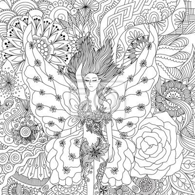 Belle Fille De Fée Dormant Sur Des Fleurs Pour Le Livre à Colorier