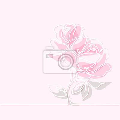 Papiers Peints Belle Fleurs De Rose De Couleur Douce Dessin Linéaire Continu