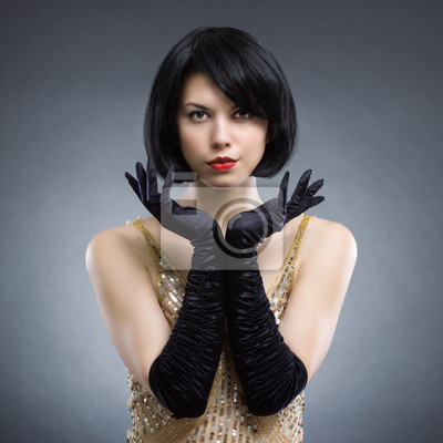 Belle Jeune Femme Avec Coiffure Elegante Et Des Gants Noirs Papier
