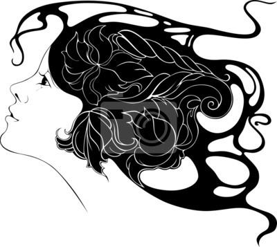 belle jeune fille avec des fleurs dans ses cheveux dans le style de Ar