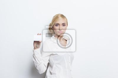 Papiers Peints Belle Jeune Fille Blonde Tenant Carte De Visite Vierge