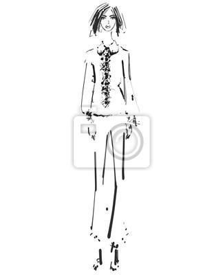 Belle Jeune Fille Dans La Chemise Et Un Pantalon Dessin De Croquis