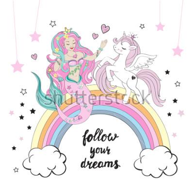 Papiers peints Belle licorne et sirène avec lettrage suivez vos rêves