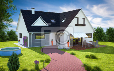 Belle Maison Moderne Grande Avec Jardin Et Piscine Papier Peint
