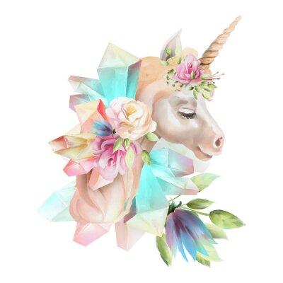 Papiers peints Belle, mignon, tête de licorne aquarelle avec des fleurs, couronne florale, bouquet et cristaux magiques isolés sur blanc