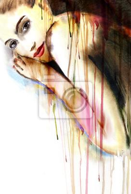 Belle peinture d'aquarelle de femme