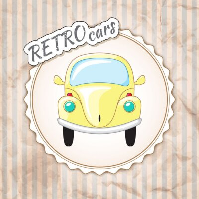 Papiers peints Belle petite voiture jaune rétro.