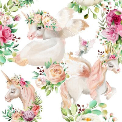 Papiers peints Belle, princesse de licornes aquarelle, Pégase en couronne d'or et floral, fleurs pivoine et bouquets de rose et pigeon sur modèle sans soudure de fond blanc