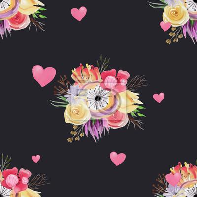 Belles Fleurs Aquarelles Lumineuses Et Colorees Avec Des Coeurs