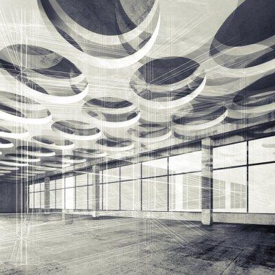 Papiers peints Béton, intérieur, fil-cadre, Lignes, 3D, Illustration