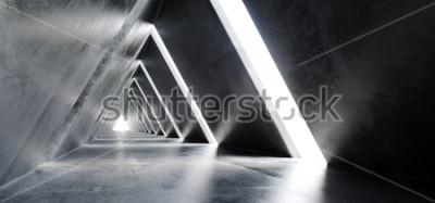Papiers peints Béton Longue Lumière Béton Poli Moderne Sci-Fi Futuriste Triangle Construction Tunnel Corridor Rendu 3D Illustration