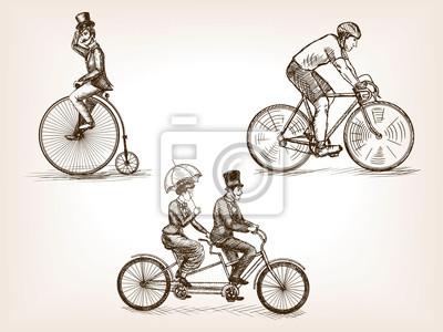 Bicycles, croquis, vecteur, Illustration