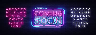 Papiers peints Bientôt le vecteur signe néon. Bientôt insigne Badge de style néon, élément de conception, bannière lumineuse, enseigne au néon, annonce de nuit. Illustration vectorielle Modification du texte au néon