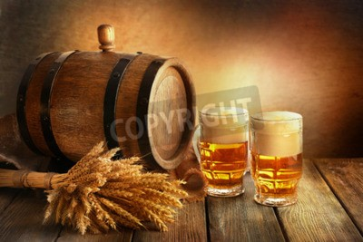 Papiers peints Bière, baril, bière, lunettes, table, brun, fond