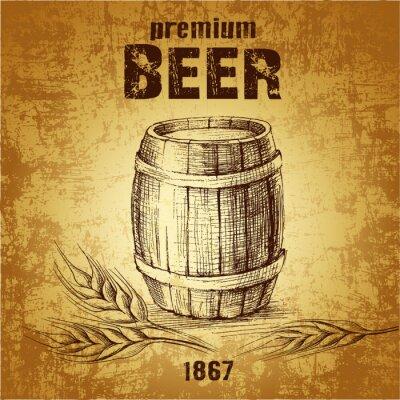 Papiers peints bière en fût pour le label, le baril package.vintage. épi