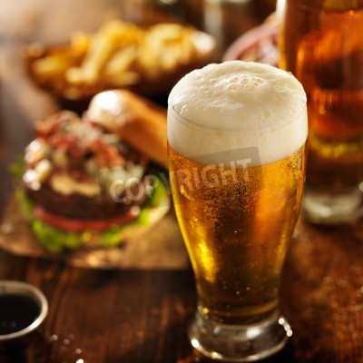 Papiers peints Bière, hamburgers, restaurant, table