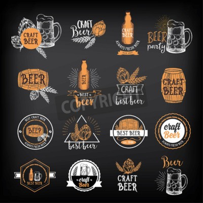 Papiers peints Bière restaurant badges vecteur, conception de menu d'alcool.