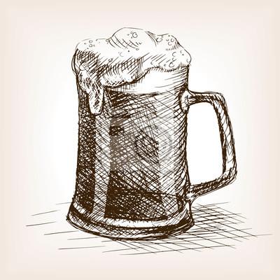 Bière, tasse, main, dessiné, croquis, style, vecteur