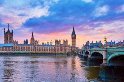 Papiers peints Big Ben and Westminster Bridge with river Thames
