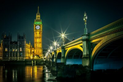 Papiers peints Big Ben et du Parlement au crépuscule, Londres, Royaume-Uni