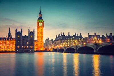Papiers peints Big Ben et pont de Westminster au crépuscule à Londres