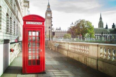 Papiers peints Big Ben et rouge cabine téléphonique à Londres